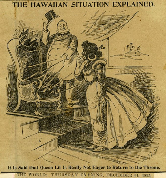 Liliuokalani cartoon 14 dec 1893 The World